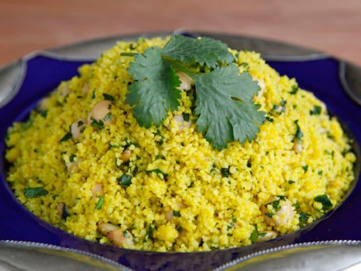 Lemony Saffron Couscous - Savory side dish with lemon, chickpeas, pine nuts and cilantro. Kosher, Meat or Pareve, Vegan option.