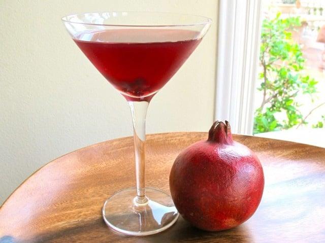 Tori Avey's signature martini made with pomegranate juice, citrus vodka, triple sec and lime juice. Kosher.