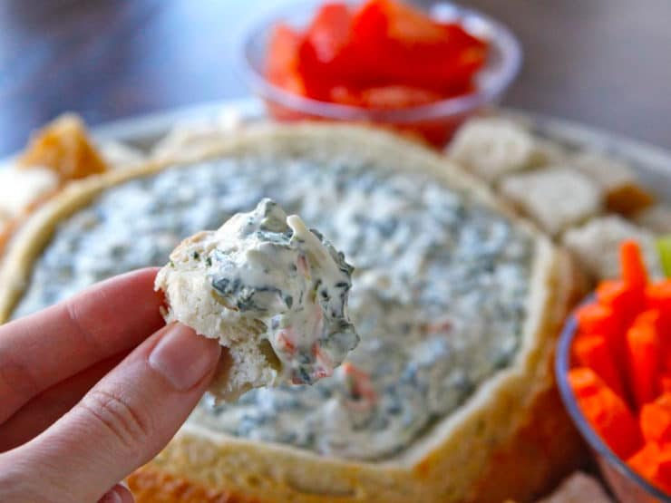 Aunt Carol's Spinach Dip - Delicious, creamy appetizer with sourdough bread for dipping. Perfect for parties, potlucks. Kosher, Dairy.