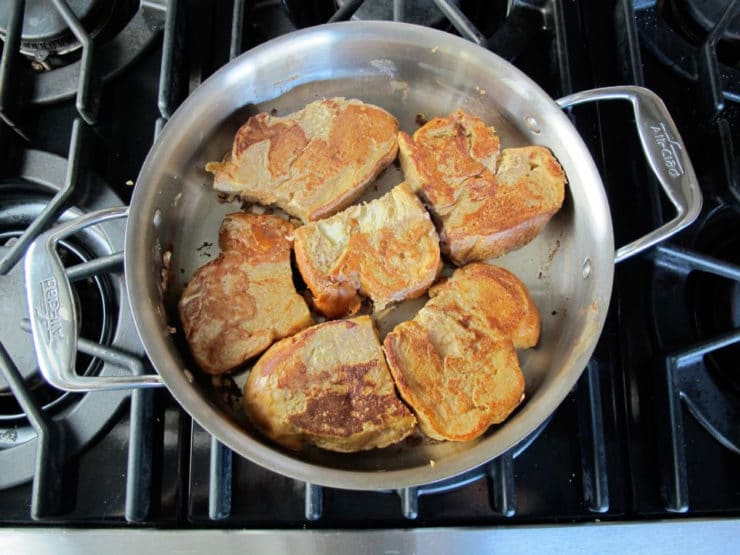 French toast baking on the second side.