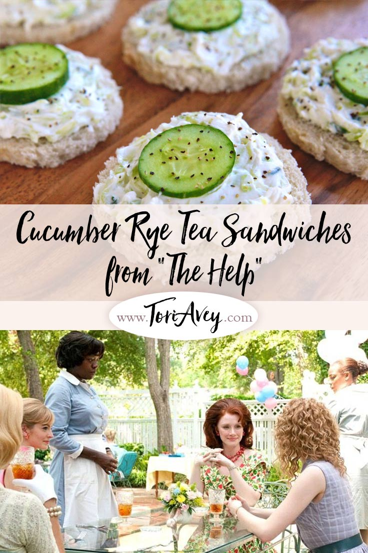 Cucumber Rye Tea Sandwiches from The Help - Traditional Southern finger food recipe. ToriAvey.com #fingerfood #appetizer #fingersandwiches #cucumbers #cream cheese #cidervinegar #easyrecipe #rye #ryebread #scallions #vegetarian #teaparty #partyfood #southernrecipe #thehelp #moviefood #movierecipe #oscarfood #teasandwiches