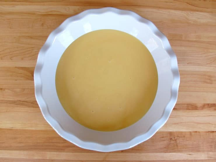 Condensed milk in a pie plate.