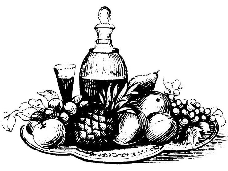 Antique black and white 19th century illustration of tray with fruits, decanter of beverage with stopper and glass.