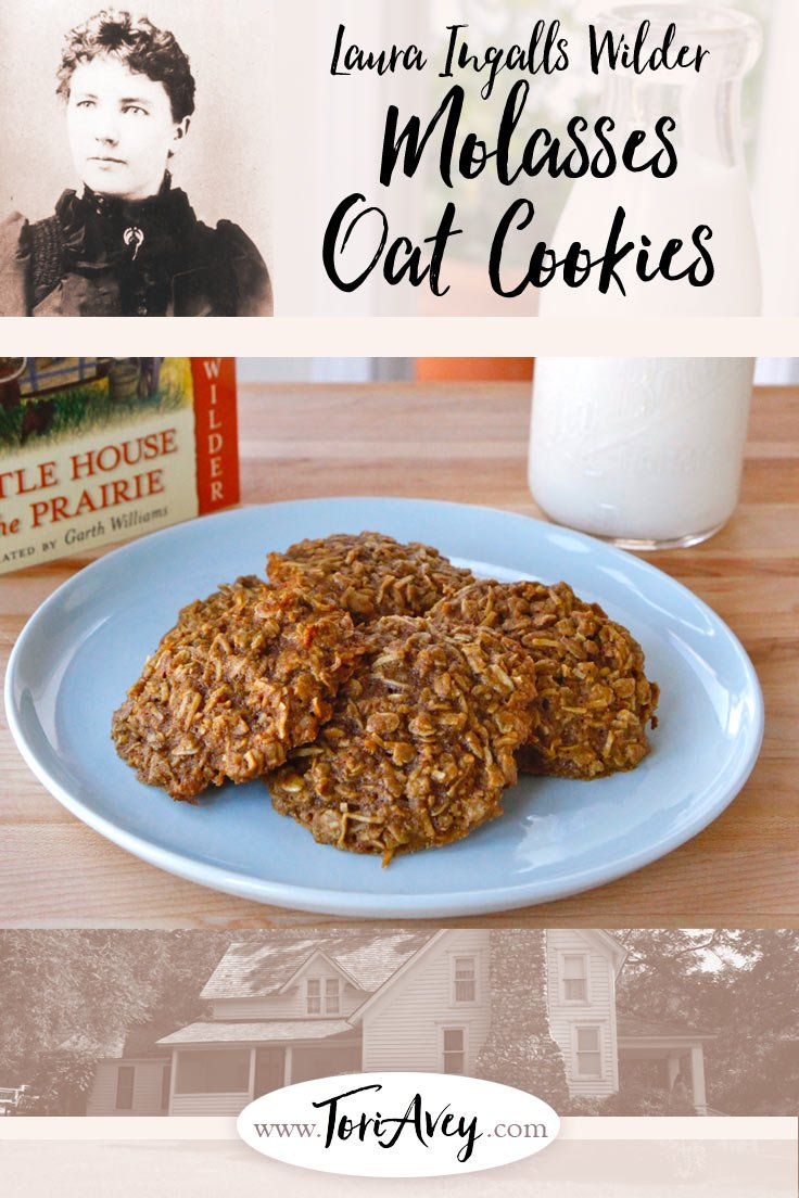Old Fashioned Molasses Cookies - Family recipe from Laura Ingalls Wilder, author of the beloved classic Little House book series. | ToriAvey.com #cookies #littlehouse #littlehouseontheprairie #cookingwithbooks #foodhistory #history #literaryclassics #bakingchallenge #historicalrecipe #easycookies #oldfashioned #classicbooks #oats #molasses #cookiesandmilk