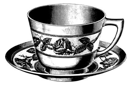 Antique 19th-century engraving of a teacup (isolated on white).