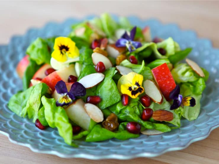 Tu B'Shevat Salad - Healthy salad with butter lettuce, apples, pears, raisins, pomegranate seeds, almonds, and creamy homemade pomegranate dressing.