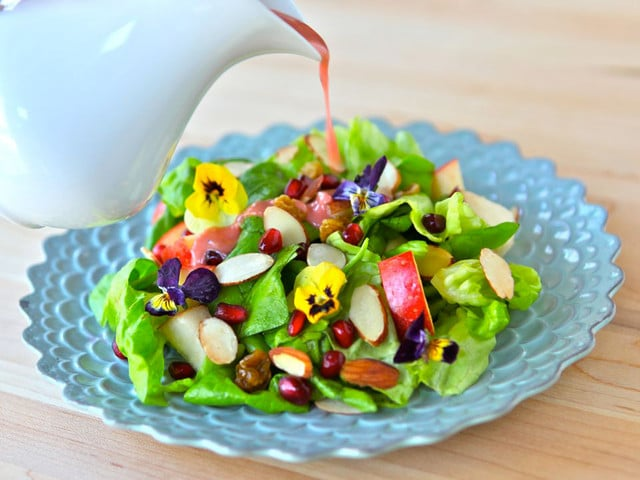 Tu B'Shevat Salad with Pomegranate Dressing