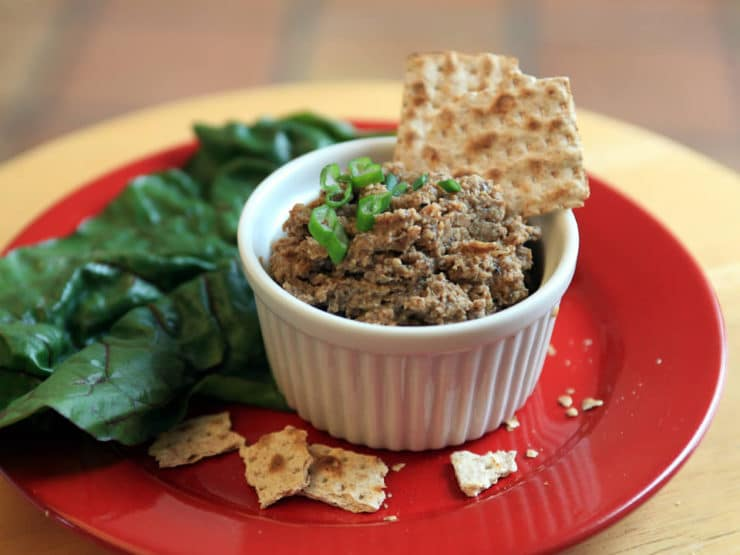 Mock Chopped Liver - A Passover Potluck idea from Eating Rules, recipe from Arthur Schwartz's Jewish Home Cooking. Vegetarian, pareve, gluten free, kosher for Pesach.