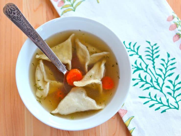 Chicken Soup with Kreplach - Jamie Geller - Joy of Kosher