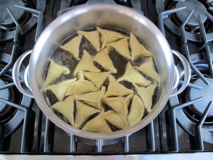 Kreplach in boiling water.