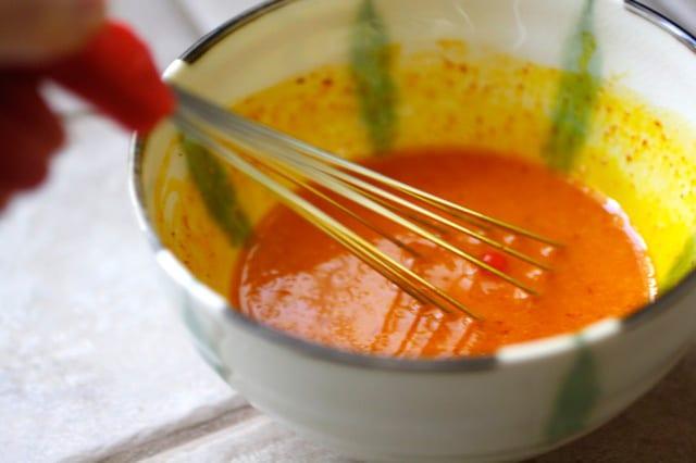 Saffron infused eggs.
