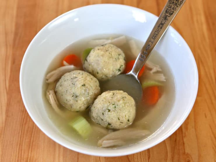"""Sinker"" Matzo Balls - How to make sinker-style matzo balls for Passover from scratch using a few simple ingredients. Kosher, meat, matzah, matza, matzo meal."