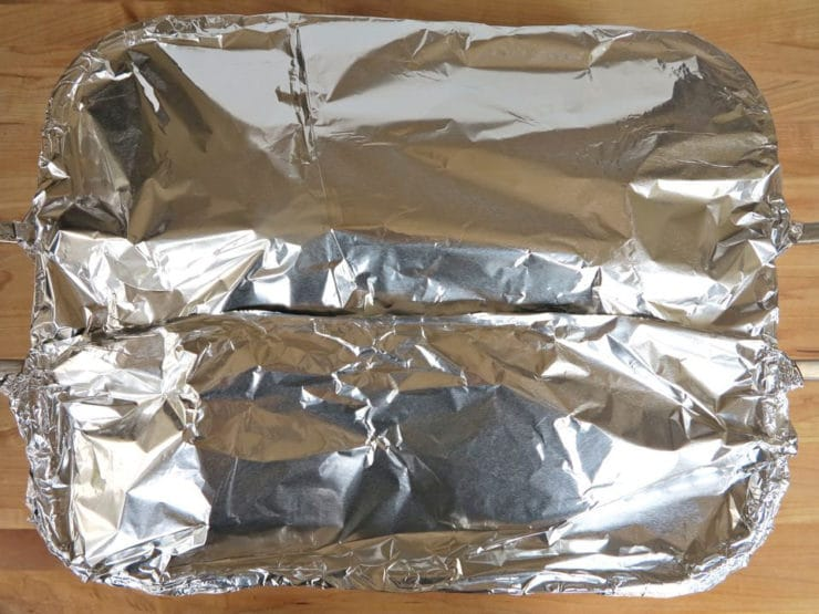 Roasting pan covered with foil.