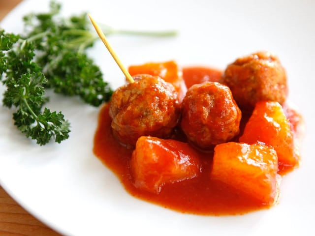 Passover Sweet and Sour Meatballs with Pineapple - Crowd-pleasing Passover dish the whole family will love!