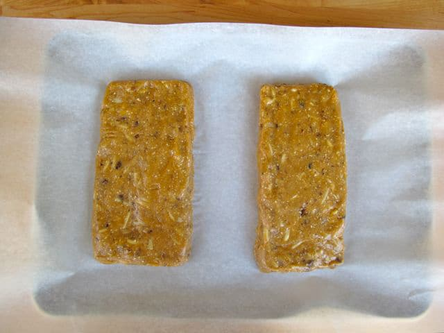 Batter shaped into two loaves.