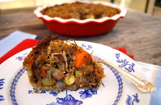 Potato Crusted Roasted Vegetable Pot Pie - A vegetarian pot pie with a gluten free potato crust from Valentina of Cooking on the Weekends. Part of the Passover Potluck series. Kosher for Pesach.