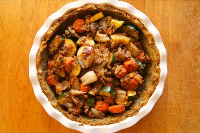 Root vegetables added to potato crust.