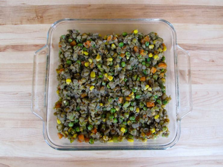 Vegetable mixture in a baking dish.