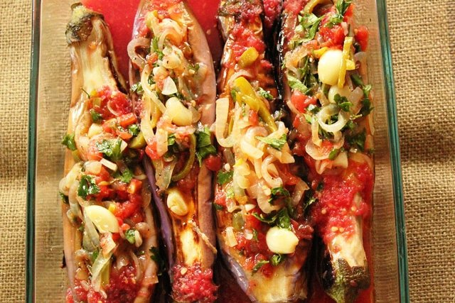Split eggplant stuffed.
