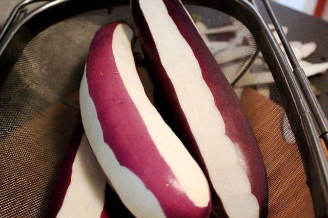 Eggplant peeled in stripes.