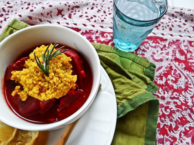 Beetroot & Maitake Stew with Turmeric Quinoa - A vegan stew recipe for Passover featuring beets, Maitake mushrooms, and quinoa with turmeric. Pareve, vegetarian, kosher for Pesach.