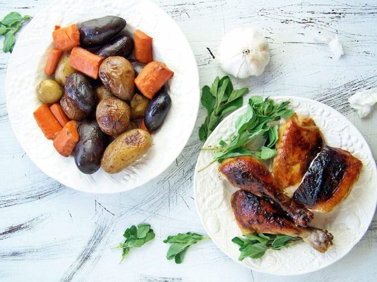 40 Clove Roast Chicken - Learn to cook 40 Clove Garlic Roasted Chicken with Roasted Vegetables from Kim Bee. Kosher, Meat, Kosher for Pesach.