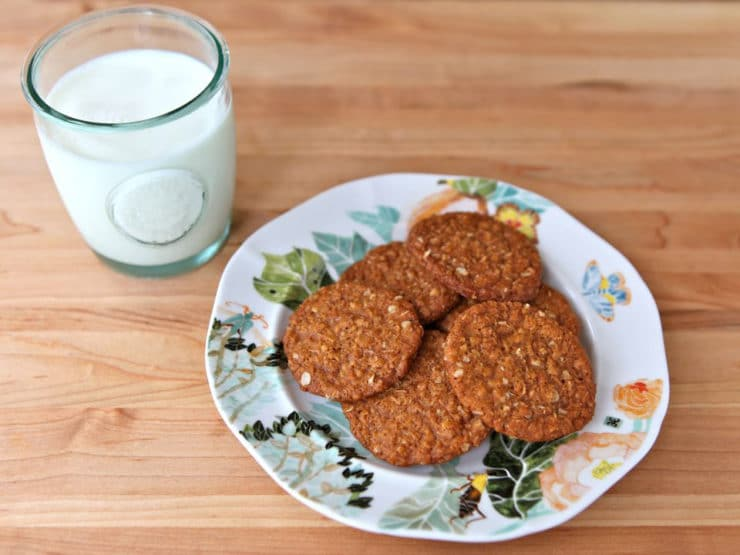 Anzac Biscuits - A traditional recipe for Anzac Biscuits in honor of Australia's Anzac Day, a memorial day for Australian war veterans. Kosher, Dairy, Cookies
