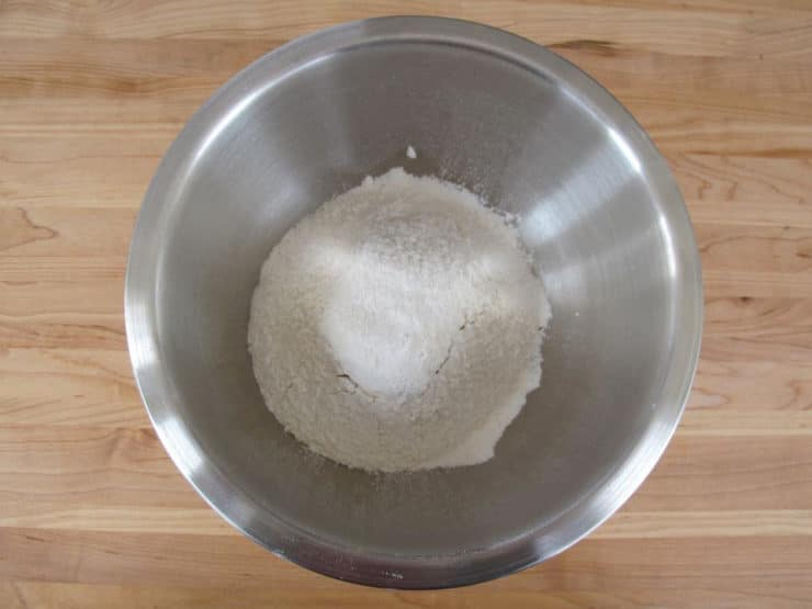 Flour sifted into a mixing bowl.