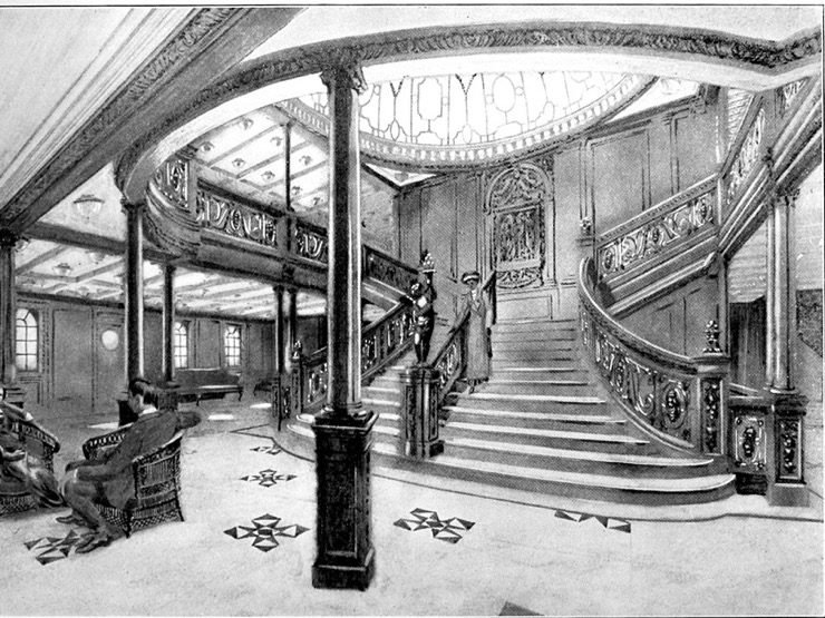 The Grand Staircase on board Titanic.