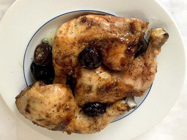 Chicken with Prunes and Oregano - Healthy Kosher for Passover recipe from Tamar Genger.