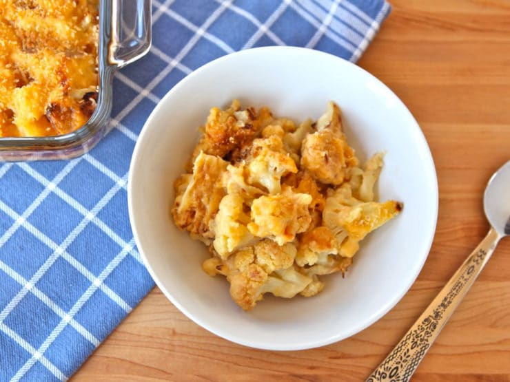 Roasted Cauliflower Gratin - Recipe with creamy cheese sauce and caramelized roasted cauliflower. Easy gluten free modification. Vegetarian.