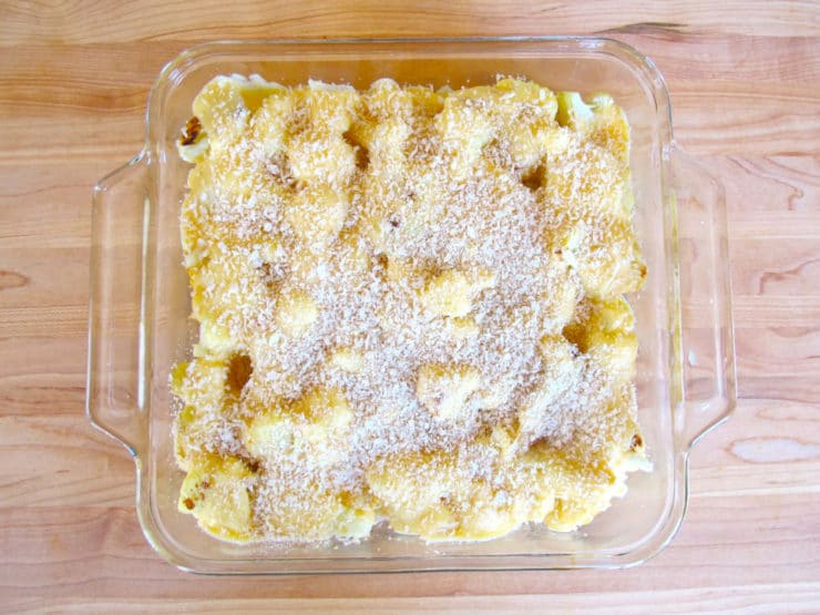 Breadcrumbs on top of cauliflower gratin.
