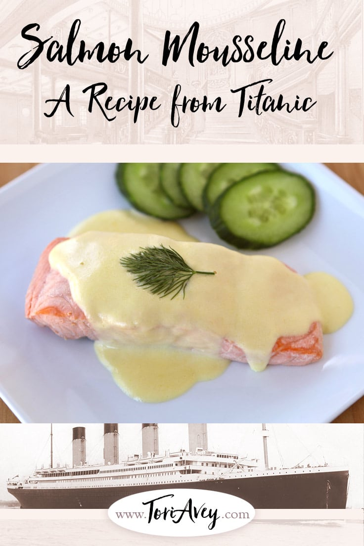 Salmon Mousseline - A Recipe from Titanic. | ToriAvey.com #foodhistory #titanic #mousseline #salmon #courtbouillon #fish #poachedfish #historicalrecipe #historicalcooking #laguideculinaire #escoffier #titanicmenu #titanicdinner