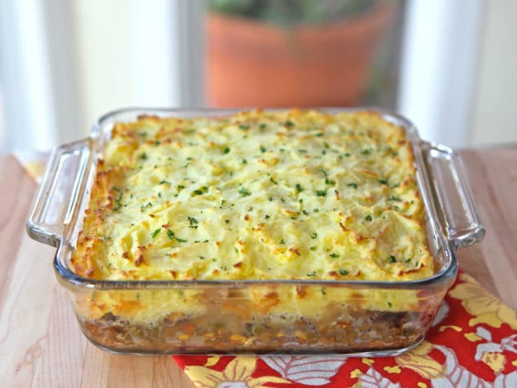 Vegetarian Shepherd's Pie - Flavorful vegetarian recipe with potatoes, lentils and vegetables. Easy vegan modifications. Gluten free, kosher, healthy, pareve or dairy.