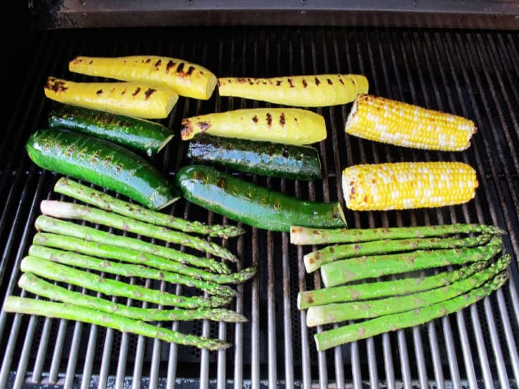 Vegetables on the grill.
