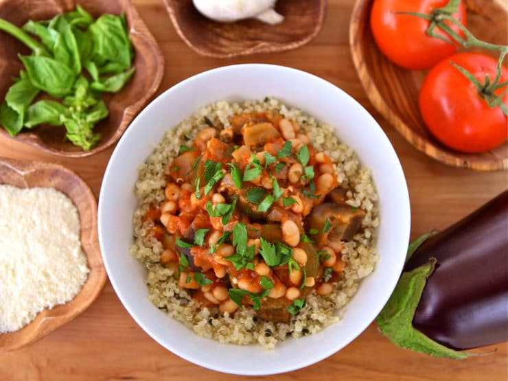 Italian Vegetable Quinoa Bowls - Easy meatless meal with eggplant, zucchini, tomatoes & fresh basil. Inspired by ciambotta, a stew from Southern Italy. Vegan or vegetarian, Kosher.