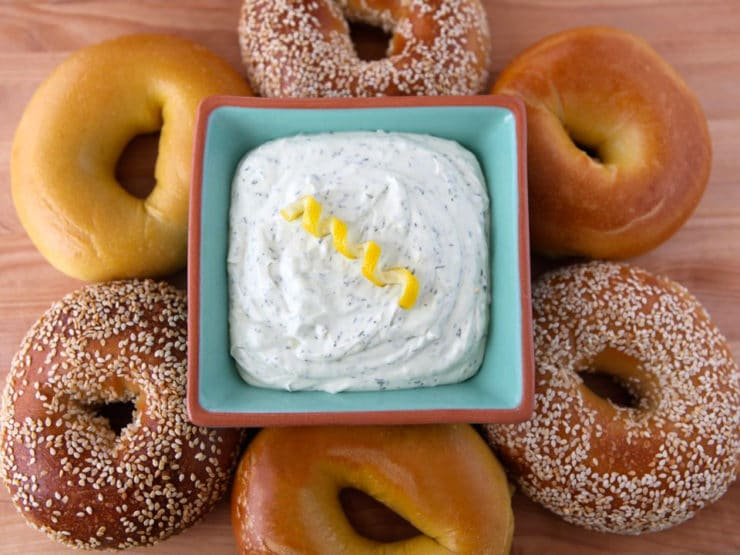 Lemon Dill Schmear - Learn the history of cream cheese and try a recipe for lemony herb cream cheese spread. Bagels, schmear, dairy, kosher.