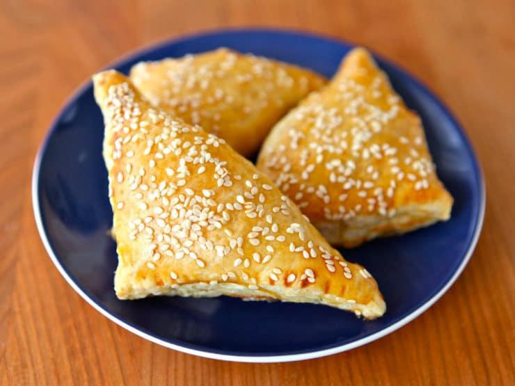 Potato Cheese Bourekas - Recipe for Potato Cheese Bourekas with mashed potato and cheese filling, kashkaval & feta. Bureka, boreka, borek, savory hand pies. Kosher, dairy