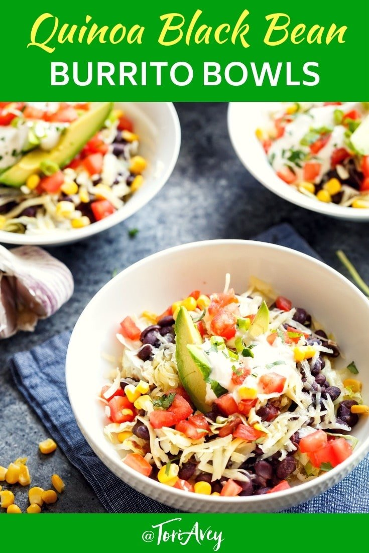 Quinoa Black Bean Burrito Bowls - Cilantro lime quinoa with simmered black beans, lettuce & your choice of toppings. Easy to customize to your taste. #quinoa #burritobowl #blackbeans #easydinner #healthyrecipe #glutenfree #vegetarian #TorisKitchen