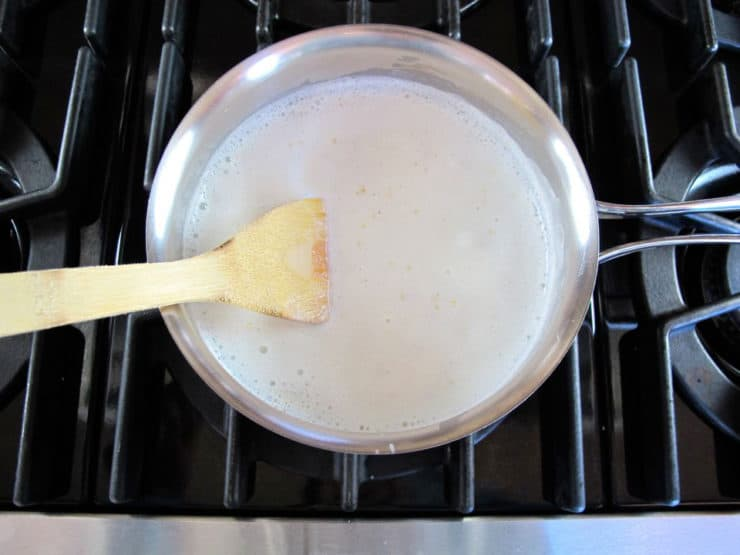 Cooking quinoa in milk.