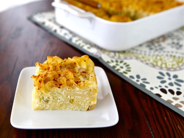 Sweet Lokshen Kugel - Learn to make traditional Yiddish dairy noodle pudding with cottage cheese, sour cream, cream cheese, sugar, and cinnamon. Kosher
