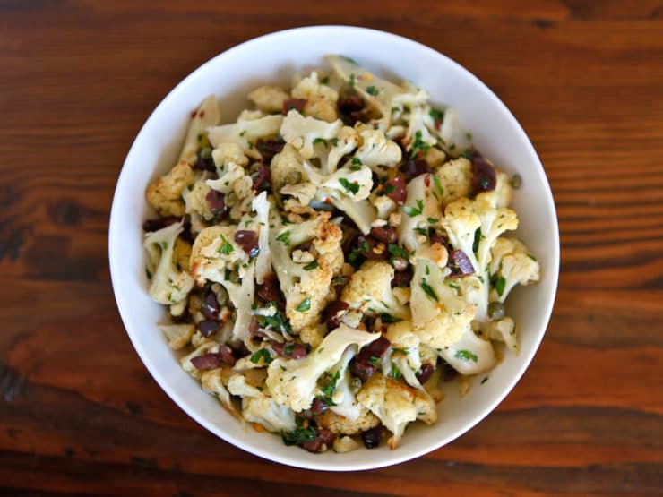 Italian Roasted Cauliflower Salad - Roasted cauliflower salad from Calabria, Italy with olives, capers, chili pepper, parsley and olive oil. Healthy, gluten free, vegan, pareve