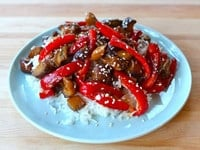 Sweet and Sour Eggplant on a plate.