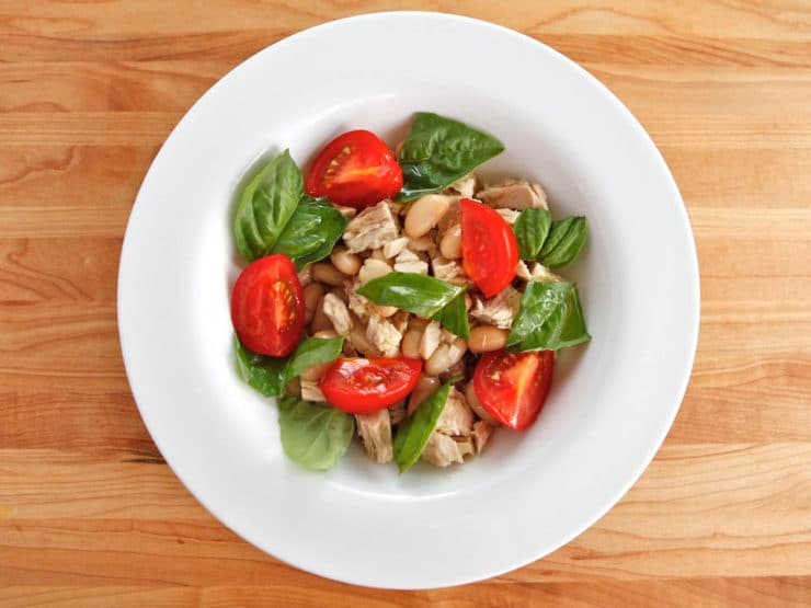 Tuna Salad Caprese - A tuna salad inspired by the island of Capri in the Campania region of South Italy. Tuna, fresh basil, tomatoes, cannelini beans, olive oil.