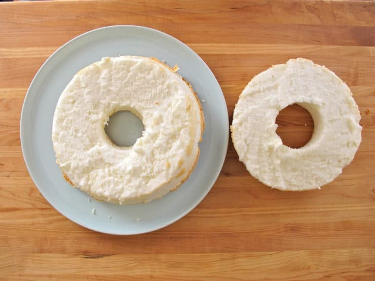 Angel food cake sliced horizontally.