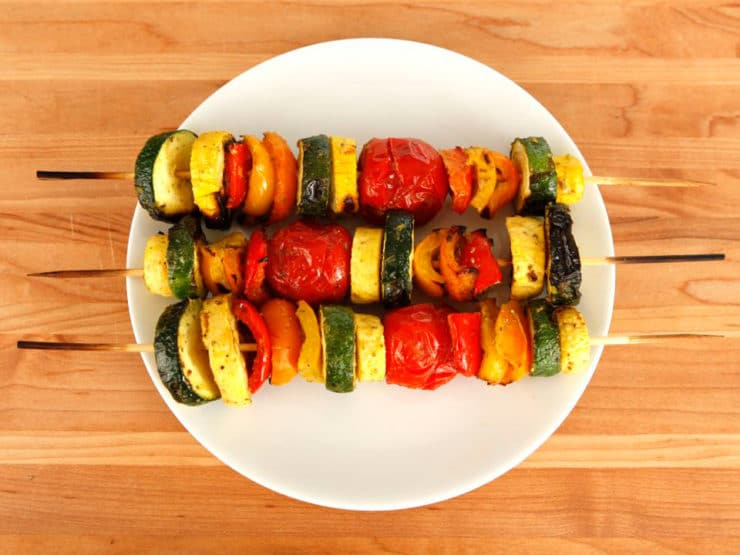 Lemon Pesto Vegetable Skewers - Vegetarian option for your barbecue with sliced vegetables, pesto, lemon juice and olive oil. Dairy or pareve, vegan, dairy-free.