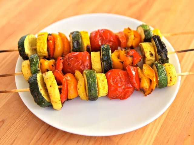 Lemon Pesto Vegetable Skewers - Vegetarian Grilling