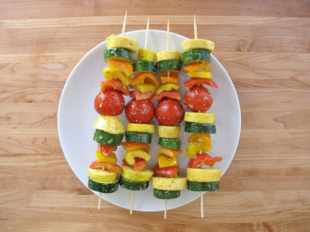 Lemon Pesto Vegetable Skewers - Vegetarian Grilling
