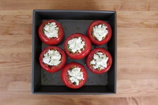Quinoa Stuffed Tomatoes With Pesto And Goat Cheese Recipe — Dishmaps