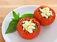 Quinoa Stuffed Tomatoes with Pesto and Goat Cheese